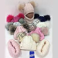 Комплект детский шапка +хомут флис для девочек 44-46 р.р. Польша Оптом 1643M