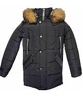 Зимняя подростковая куртка,темно-синяя, 38-44