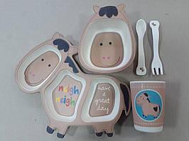 """Набор бамбуковой детской посуды """"Ослик"""" 5 предметов, в подарочной упаковке"""
