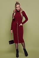 Бордовое платье гольф Виталина S, M, L, XL
