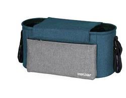 Универсальная сумка для коляски (темно синяя с серыми вставками) (31х14х16см)