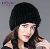 Меховая женская шапка из вязанной норки с подкладкой