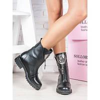 Ботинки женские демисезонные из натуральной кожи черного цвета