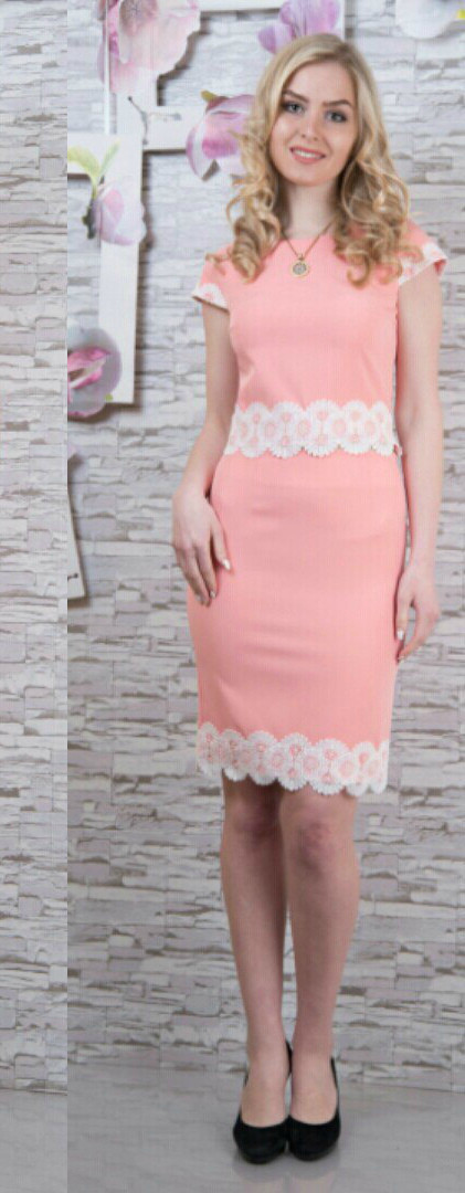 """Шикарное женское костюм (Блуза+Юбка) с кружевом ткань """"Костюмка"""" 44 размер норма"""