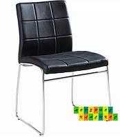 Мягкий стул на полозьях черный Майами
