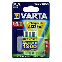 Аккумуляторы пальчиковые VARTA Longlife accu AA 1600mAh BLI 2 комплект из 2 штук