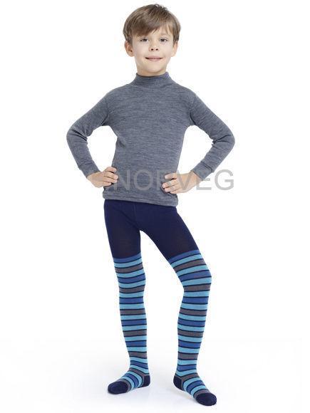 Термоколготки детские Merino Wool NORVEG (синий в полоску, размер 74/80)