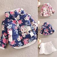 Стильная куртка в цветочек для девочки, фото 1
