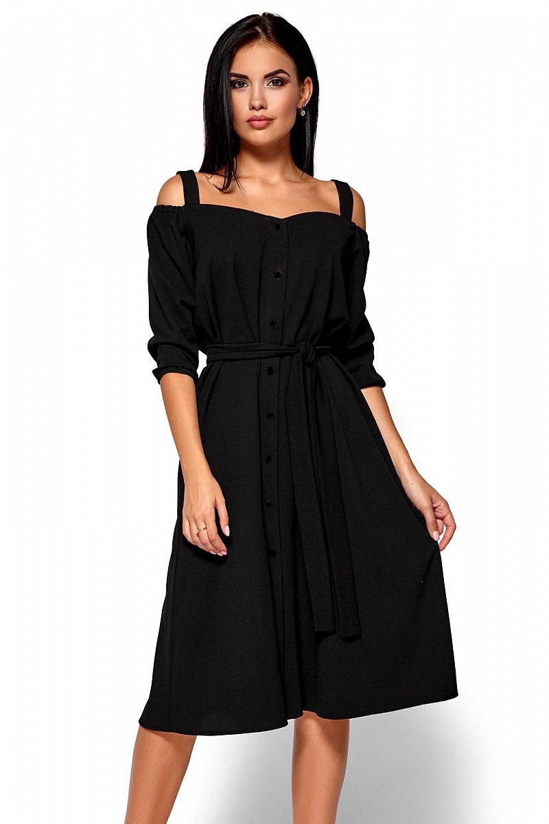 (S, M, L) Вишукане чорне плаття-міді Letisia