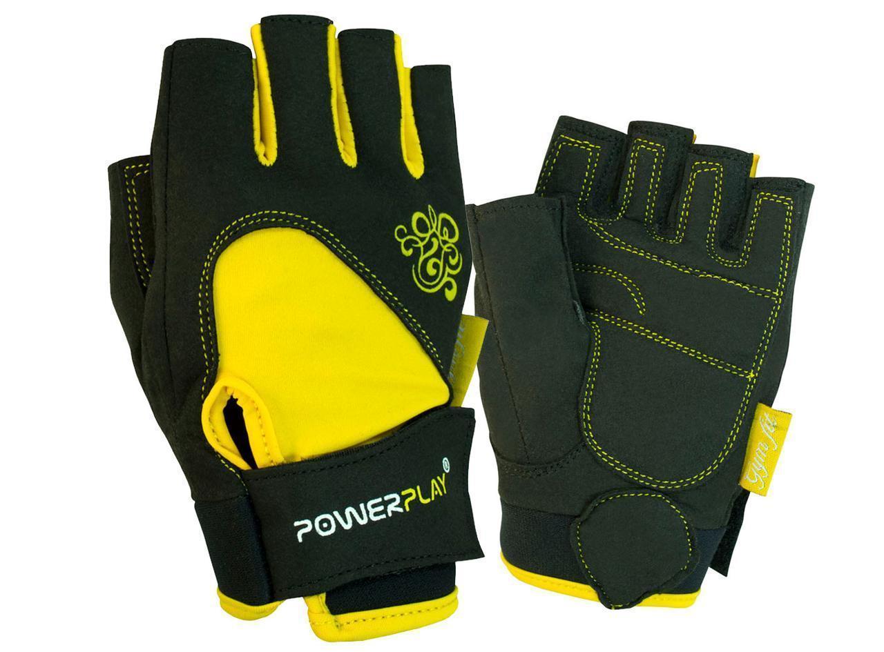 SALE. Рукавички для фітнесу PowerPlay 1728 D жіночі Чорно-Жовті XS