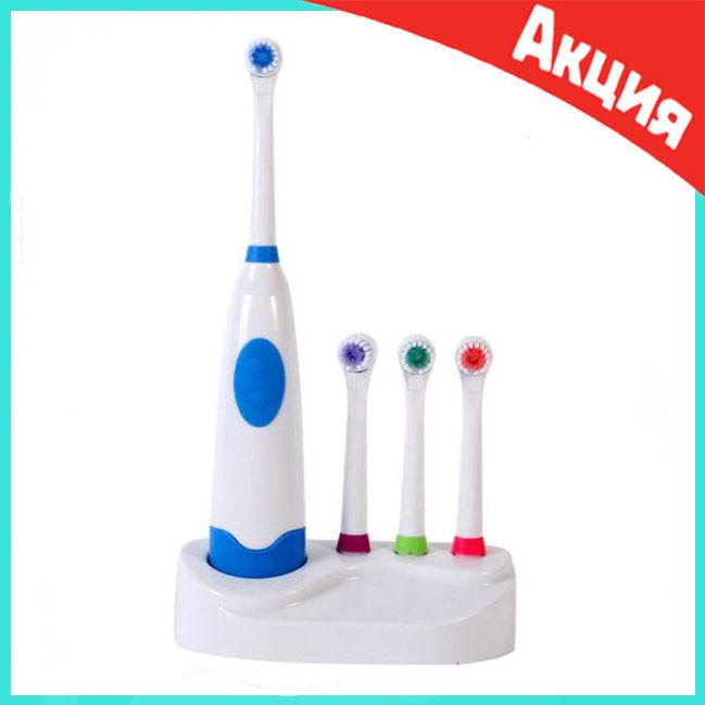 Электрическая зубная щетка с насадками Electric ToothBrush на батарейках
