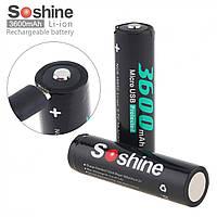 Аккумулятор Soshine 18650 Li-Ion 3600 mAh с зарядкой через micro USB порт, защищенный, фото 1