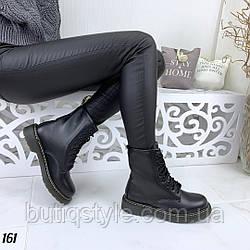 40 размер Женские черные ботинки эко-кожа на шнуровке Деми
