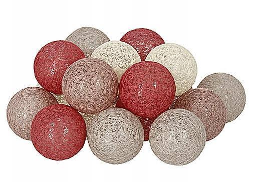 Декоративная LED гирлянда Cotton Balls Хлопковые Тайские Шарики лед20шт D6см длина гирлянды 3,3м на батарейках, фото 2