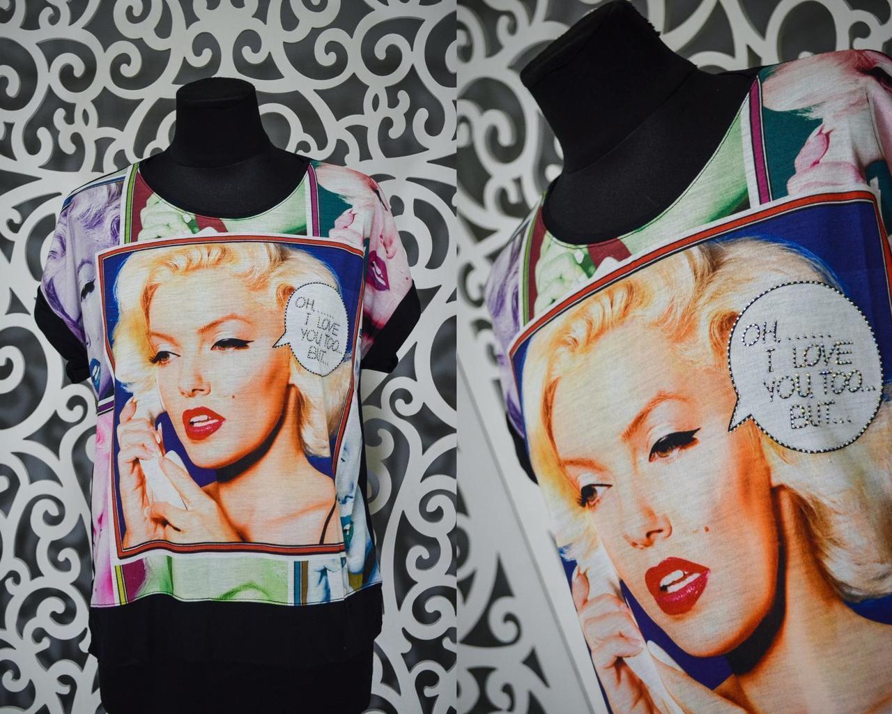 """Модная женская футболка ткань """"Хлопок+стрейч""""  44 размер норма"""