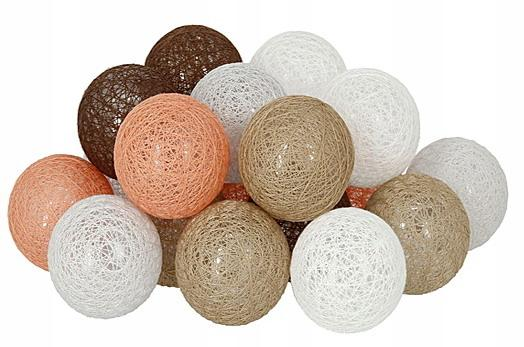 Декоративная LED гирлянда Cotton Balls Хлопковые Тайские Шарики лед20шт D6см длина гирлянды 3,3м на батарейках