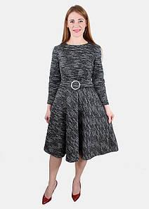 Теплое платье миди с юбкой клеш 44-50 р