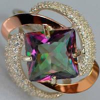 Серебряное кольцо с золотыми накладками с мистик топазом и фианитами СС-004