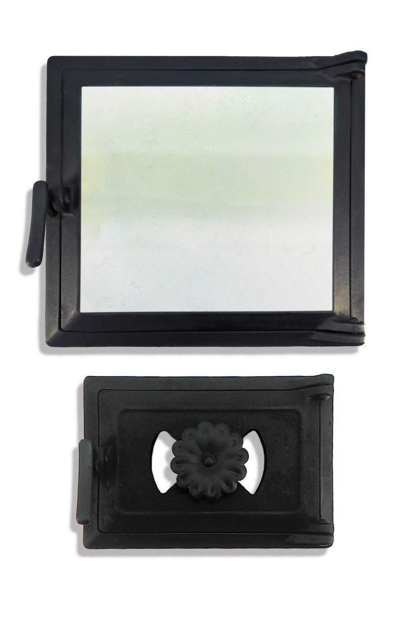 Дверца печная со стеклом 102864К, 290х330 мм