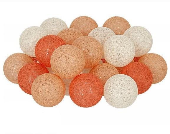 Декоративная LED гирлянда Cotton Balls Хлопковые Тайские Шарики лед30шт D6см длина гирлянды 4,6м на батарейках