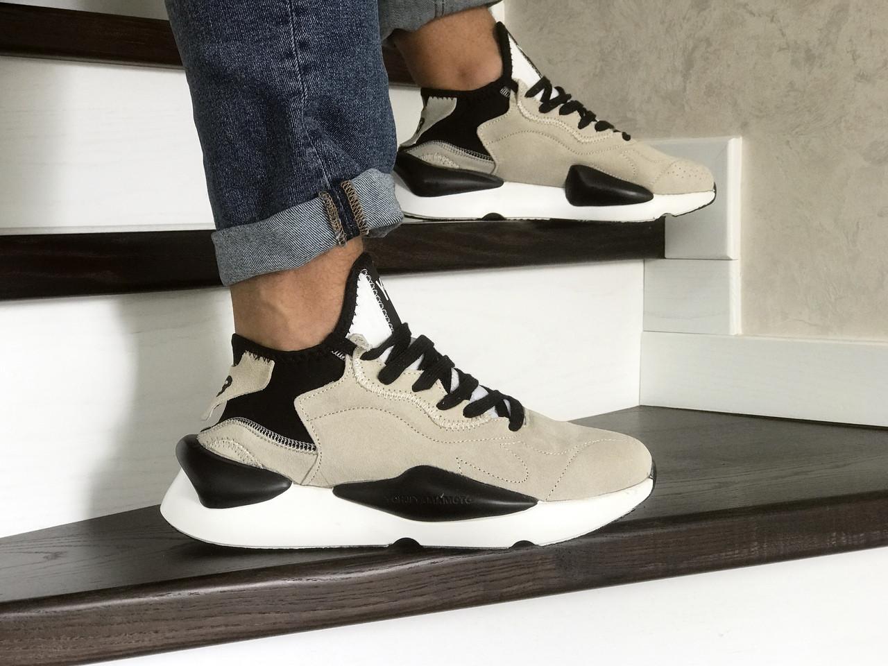 Кросівки чоловічі Adidas Y-3 Kaiwa,бежеві з чорним