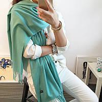 Женский шарф палантин длинный кашемировый, мята
