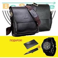 Кожаная сумка Polo Videng, Часы Swiss Army в ПОДАРОК
