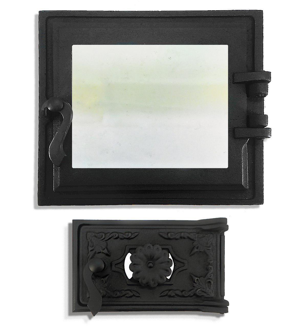 Дверца печная со стеклом 102865К, 330х360 мм