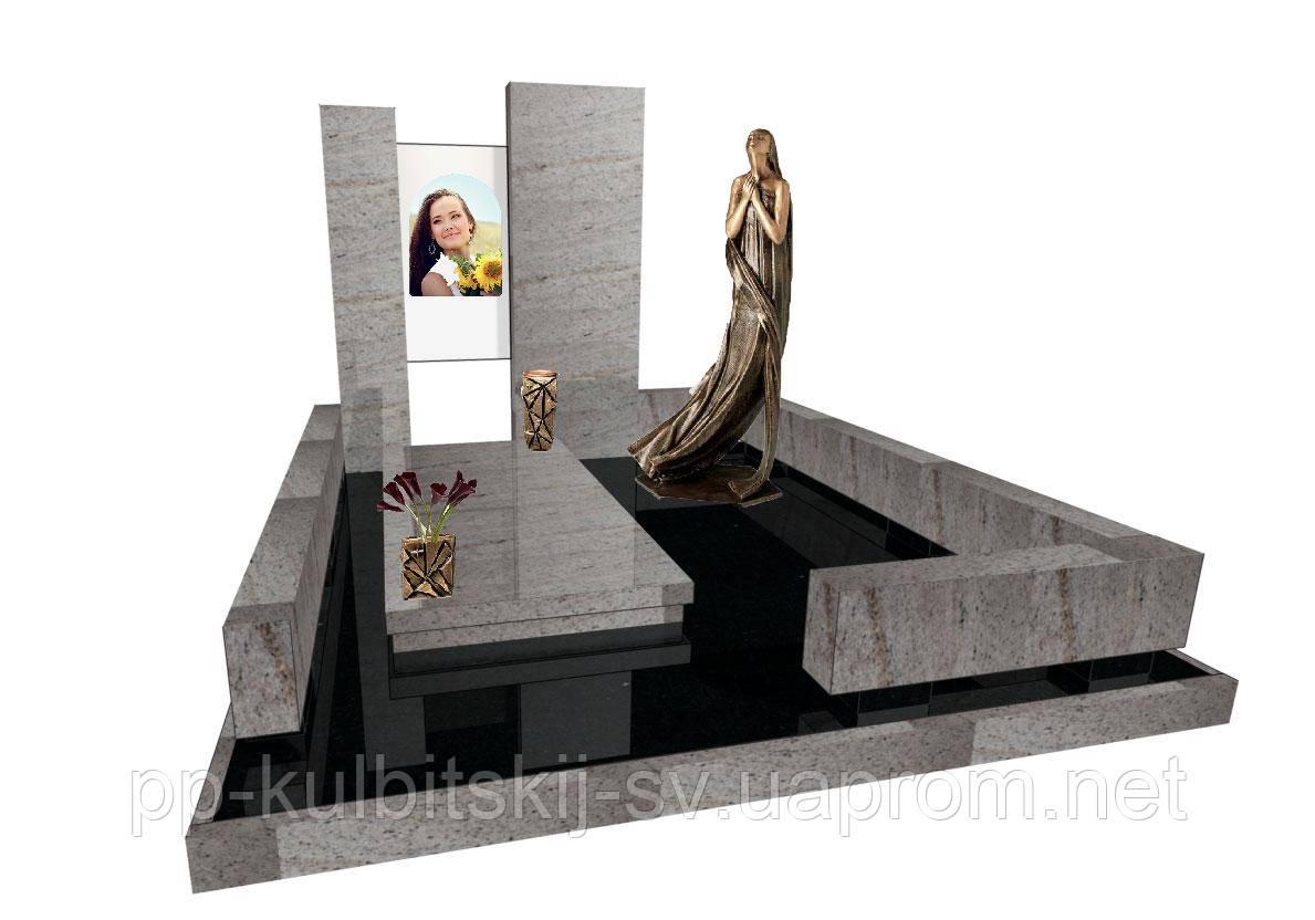Ексклюзивний гранітний пам'ятник з бронзовим декором на памятник Е8021