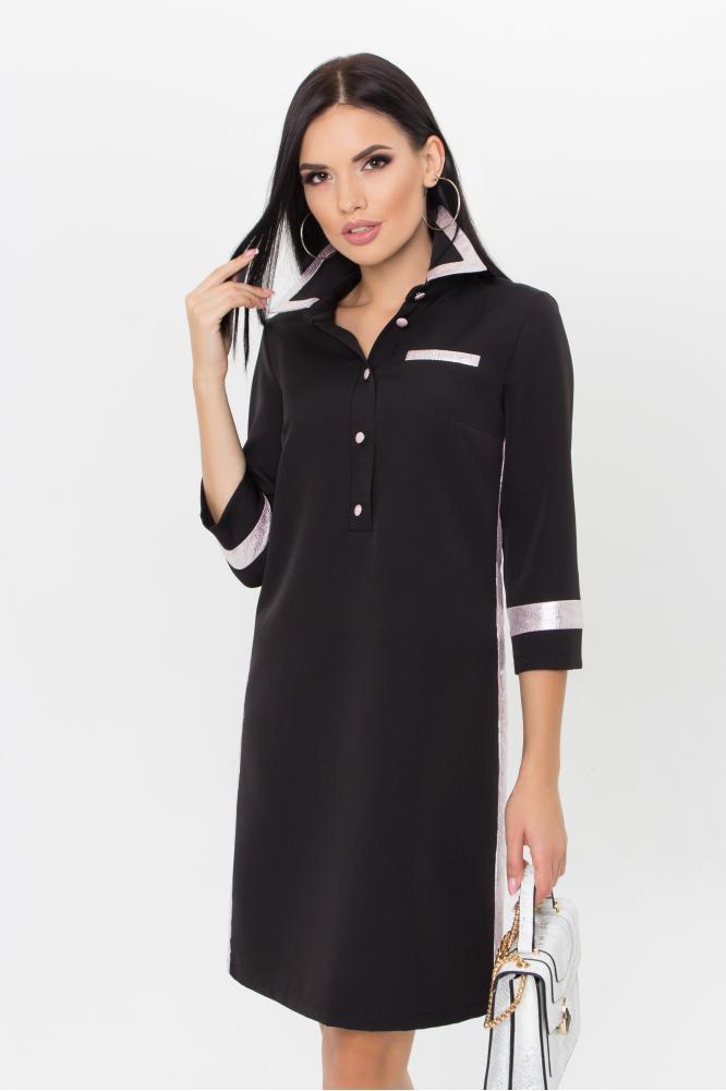 Стильное черное платье поло
