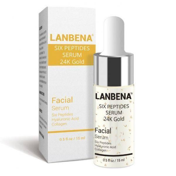 Антивозрастной серум для лица Lanbena Peptides Serum 24K Gold с 6-ю пептидами и 24 каратным золотом 15 г, фото 2