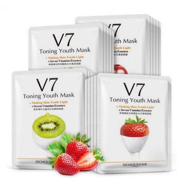 Тканевая витаминная маска для лица Bioaqua v7 toning youth mask с фруктовыми экстрактами 30 мл, фото 2