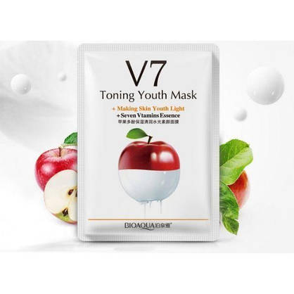 Тканевая витаминная маска для лица Bioaqua v7 toning youth mask с фруктовыми экстрактами 30 мл, фото 3
