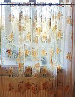 Тюль до подоконника Розы оранжевые, фото 1