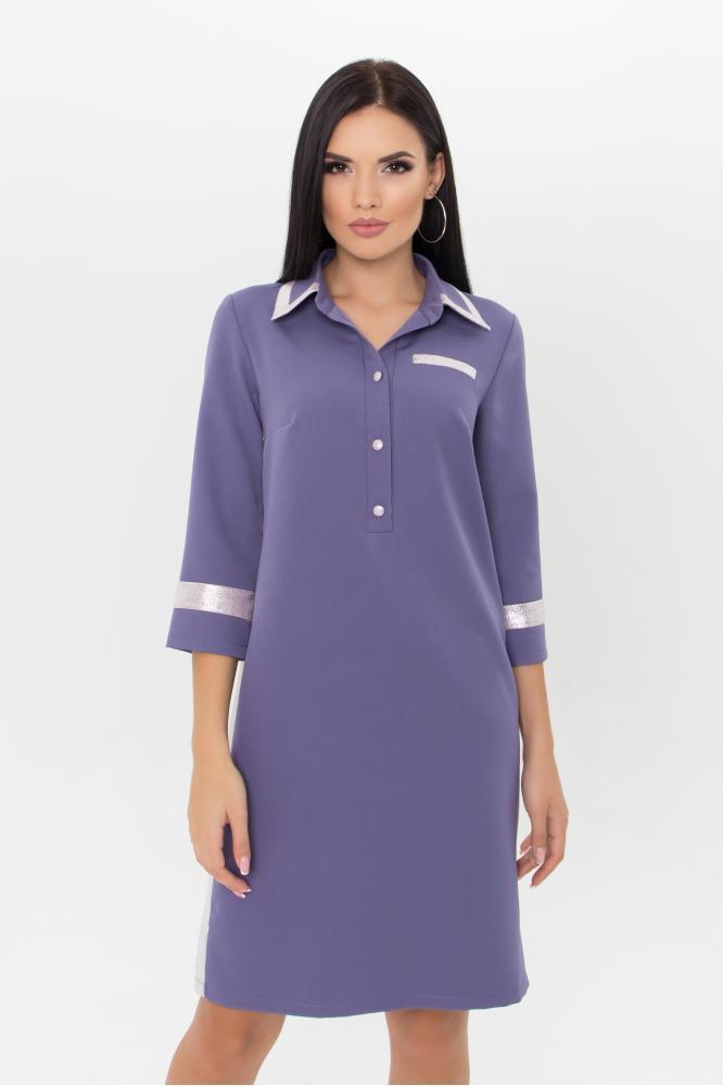 Стильное платье поло сиреневое