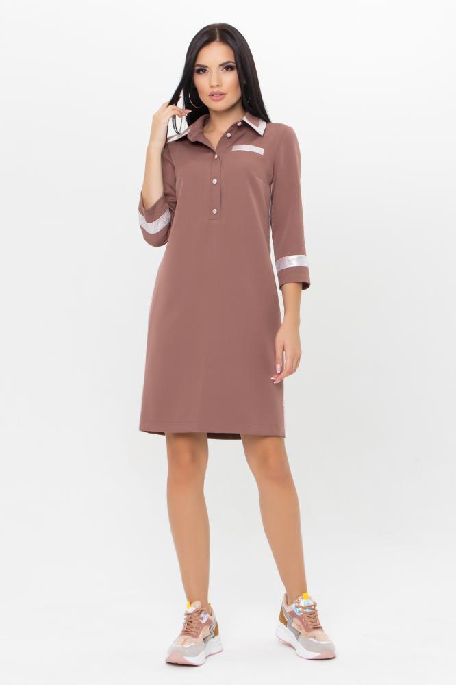 Стильное платье поло цвета капучино