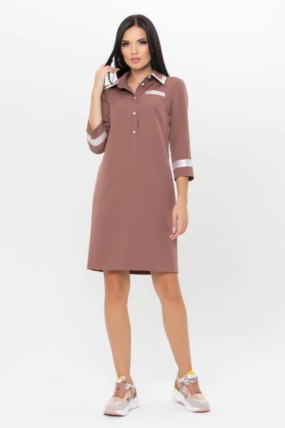 Стильное платье поло цвета капучино, фото 2