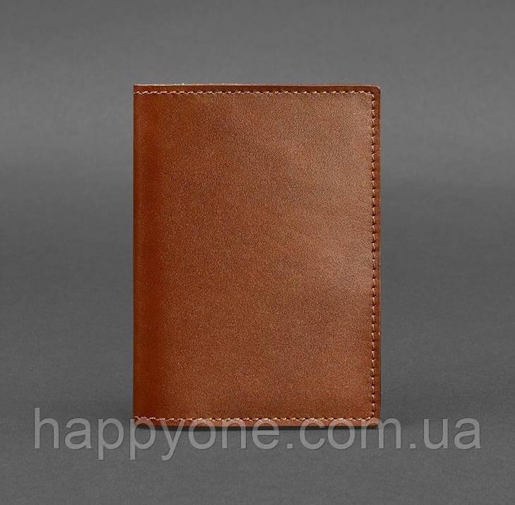 Обложка для паспорта из кожи 1.2 (светло-коричневая)