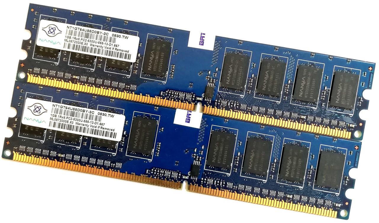 Пара оперативной памяти Nanya DDR2 2Gb (1Gb+1Gb) 667MHz PC2 5300U 1R8 CL5 (NT1GT64U88D0BY-3C) Б/У