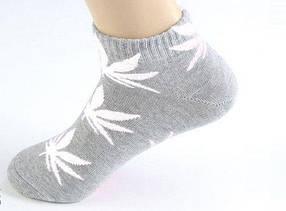 Короткие серые носки ХАФ HUF PLANTLIFE с белым листом