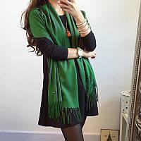 Женский шарф палантин длинный кашемировый, зеленый