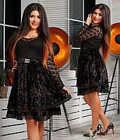 Женское платье мини гипюр с велюром