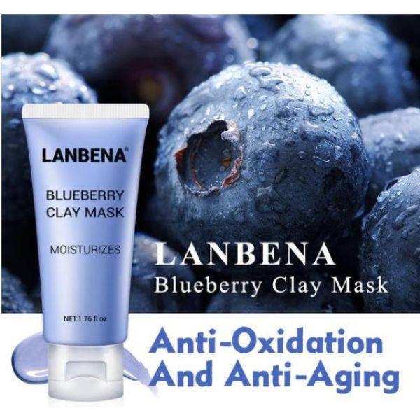Маска для лица Lanbena Blueberry Clay Face Mask увлажняющая с Anti-Aging эффектом 50 г, фото 2