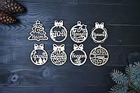 Именные новогодние игрушки из дерева на ёлку в ассортименте. Іменні новорічні, різдвяні іграшки з дерева