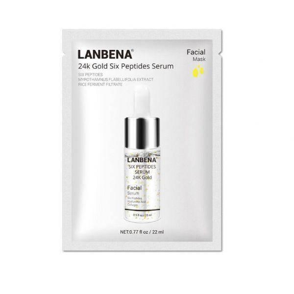 Маска для лица тканевая LANBENA 24k Gold Six Peptides Serum омолаживающая 22 мл, фото 2