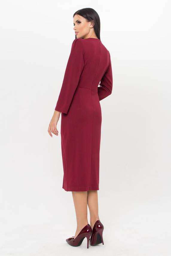 Бордовое трикотажное платье в офисном стиле, фото 2