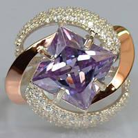 Серебряное кольцо с золотыми накладками с аметистом светлым и фианитами СС-004