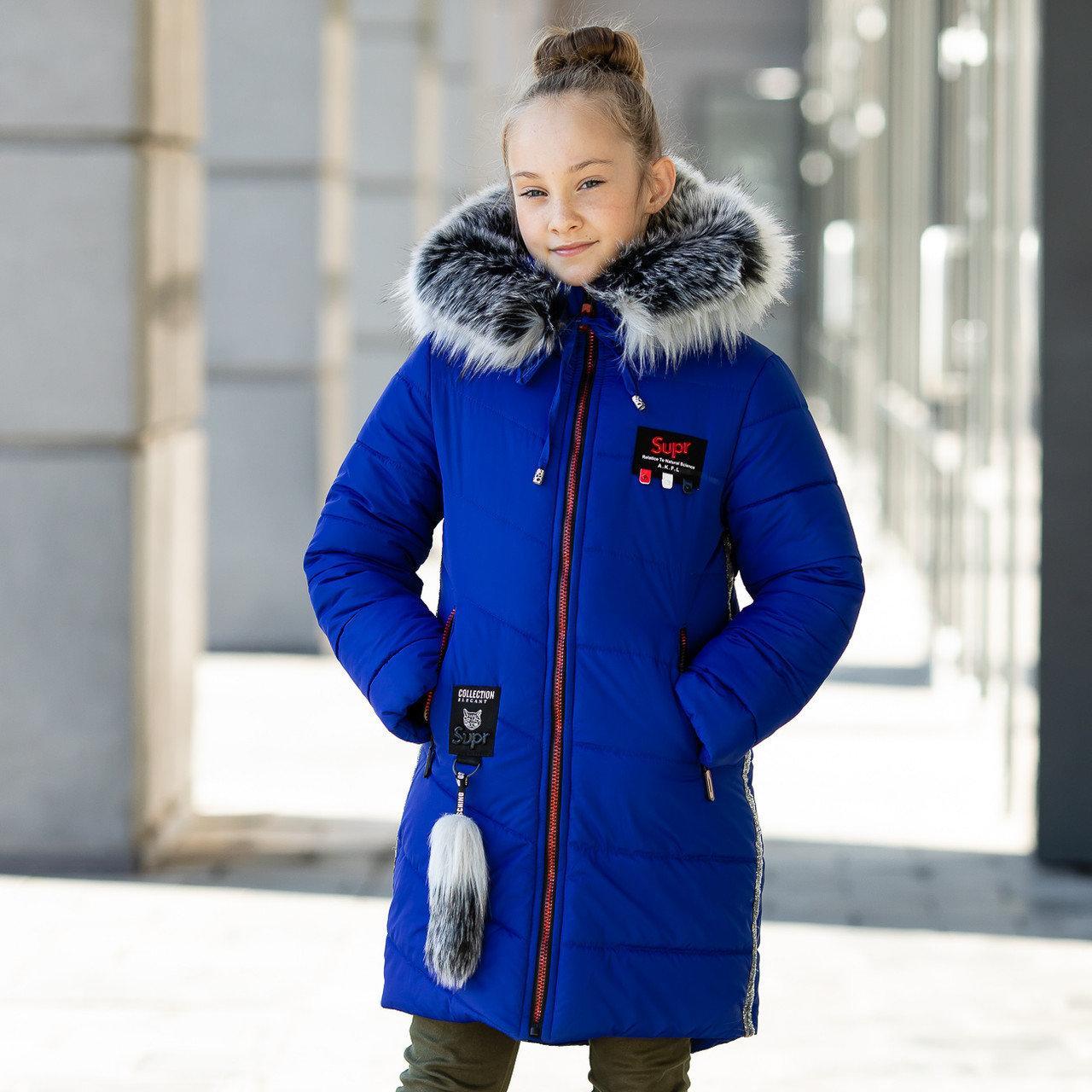 """Практичная зимняя курточка для девочки с мехом""""Суприна"""""""
