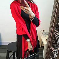 Женский шарф палантин длинный кашемировый, красный