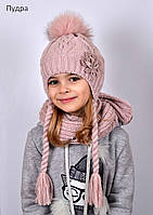 Зимняя шапка с косичками для девочки, фото 1